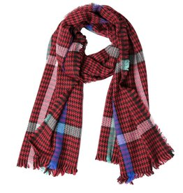 TOP IT OFF Raven Plaid Scarf in Red
