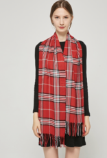 FIRST NY WHOLESALE Cashmere Feel Scarf - Red/Black/White