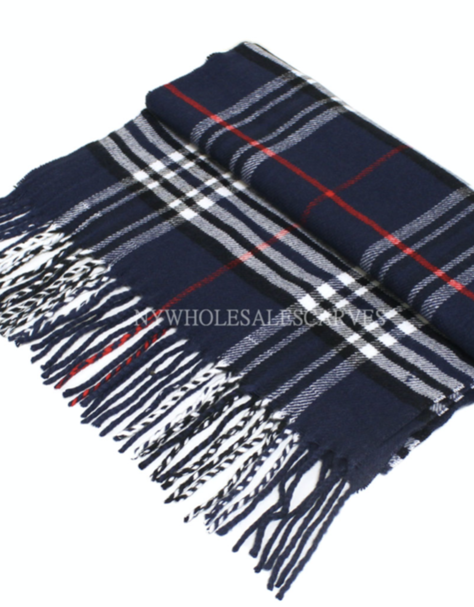 FIRST NY WHOLESALE Cashmere Feel Scarf - Navy/Red/White