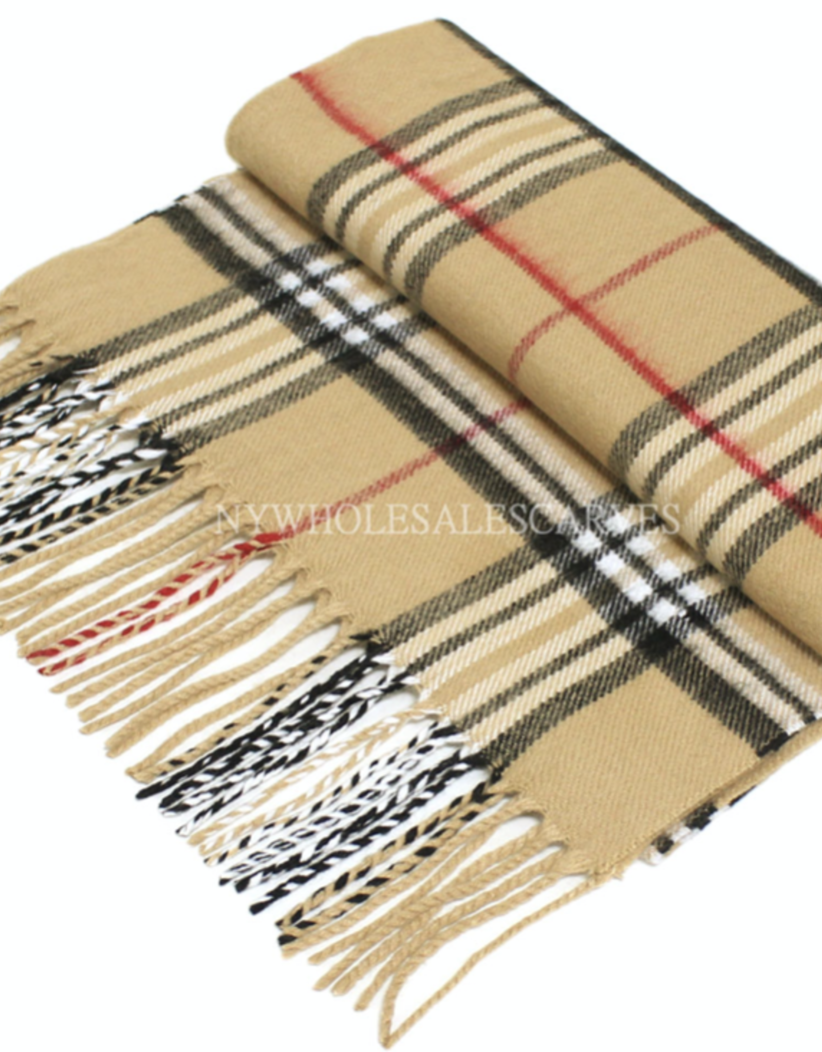 FIRST NY WHOLESALE Cashmere Feel Scarf - Camel/Red/White/Black