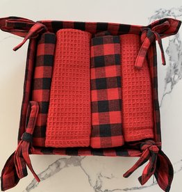NIDICO Xmas Bread Basket with 4 Dishtowels