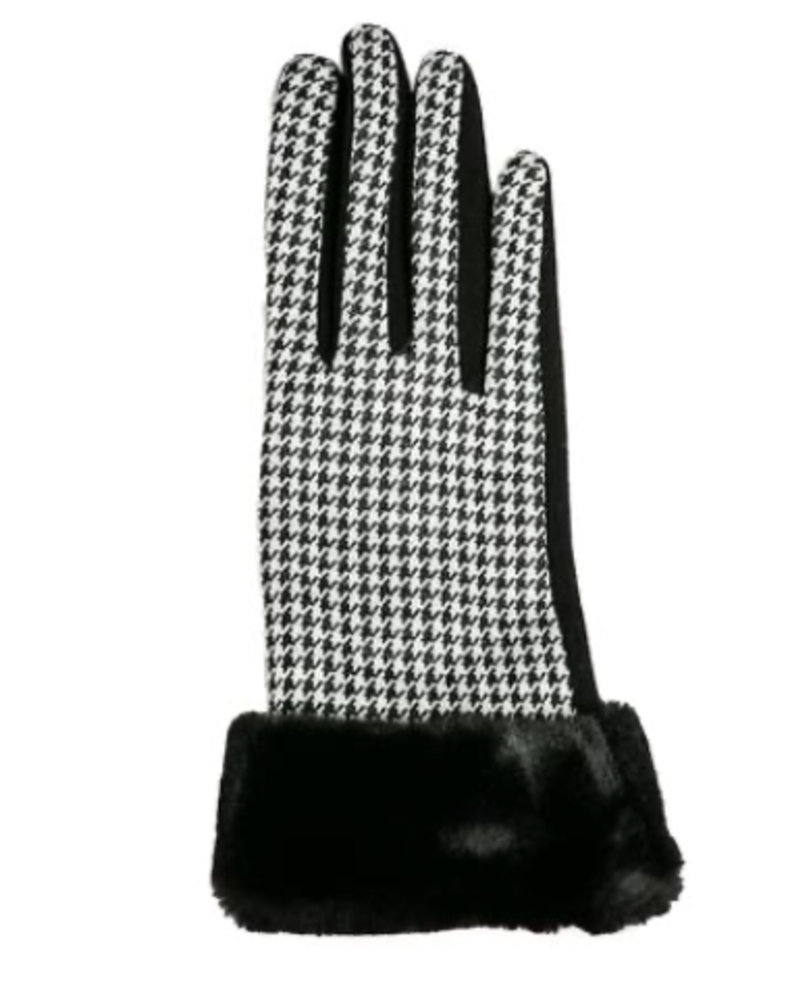 TOP IT OFF Sawyer Gloves - Black & White Houndstooth with Black Cuff