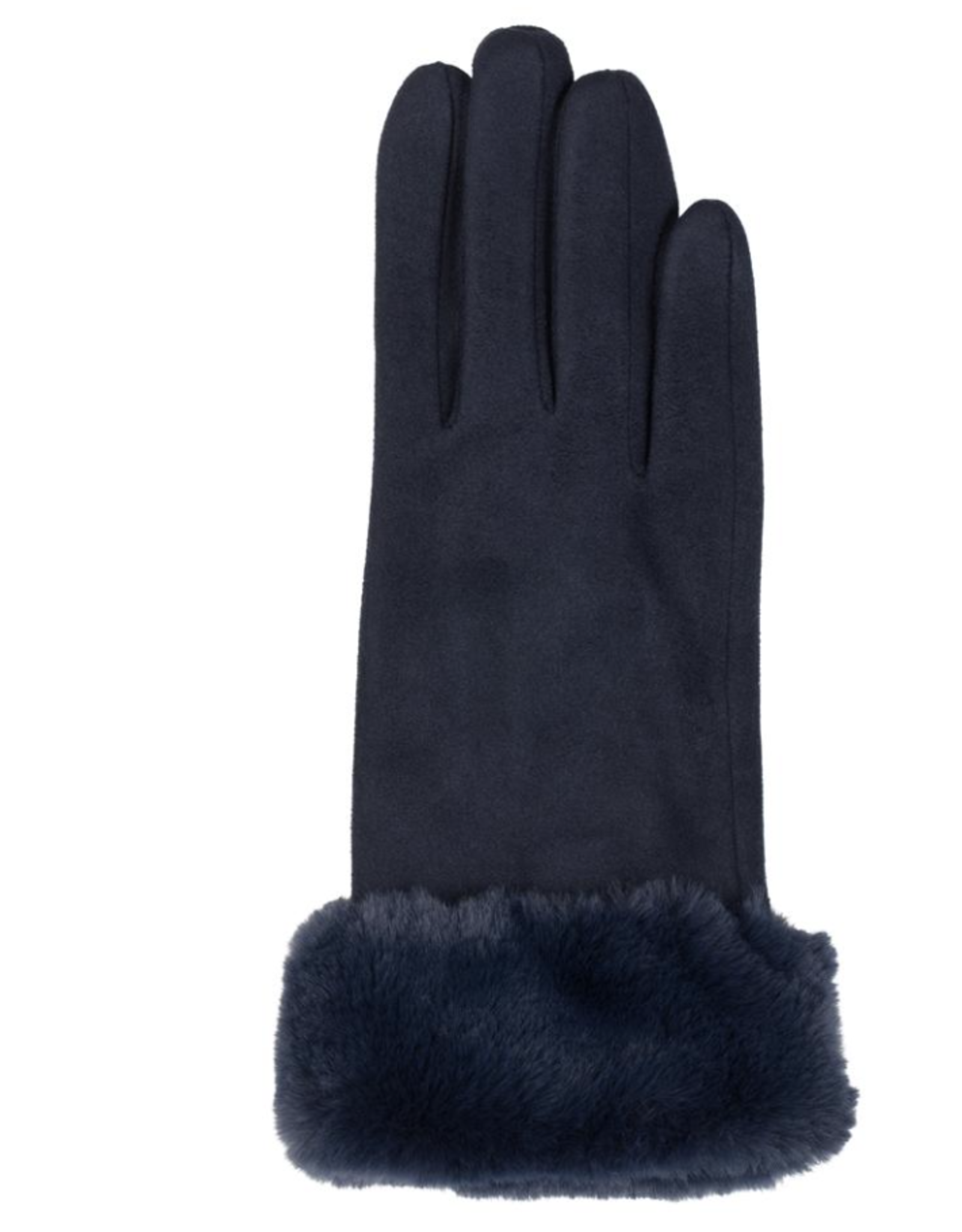 TOP IT OFF Kinsey Gloves - Navy with Fur Cuff