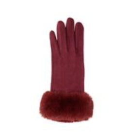 TOP IT OFF Kinsey Gloves -Red with Fur Cuff
