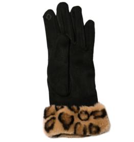 TOP IT OFF Sheila Gloves - Black w/ Leopard Cuff