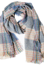 TOP IT OFF Vivian Plaid Scarf in Blue