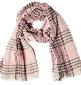 TOP IT OFF Vivian Plaid Scarf in Pink