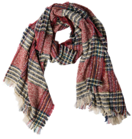 TOP IT OFF Vivian Plaid Scarf in Cranberry Red
