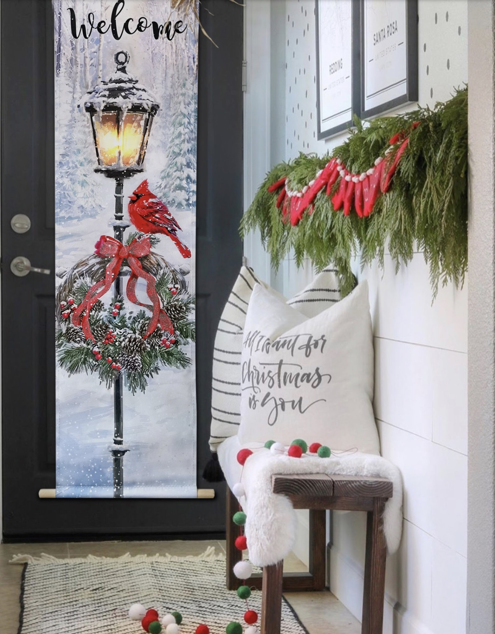 OPPORTUNITIES Wreath w/ Cardinal LED Door Hanger