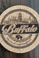 DELUXE LASERWORKS, INC. BUFFALO THE CITY OF GOOD NEIGHBORS CORK COASTER