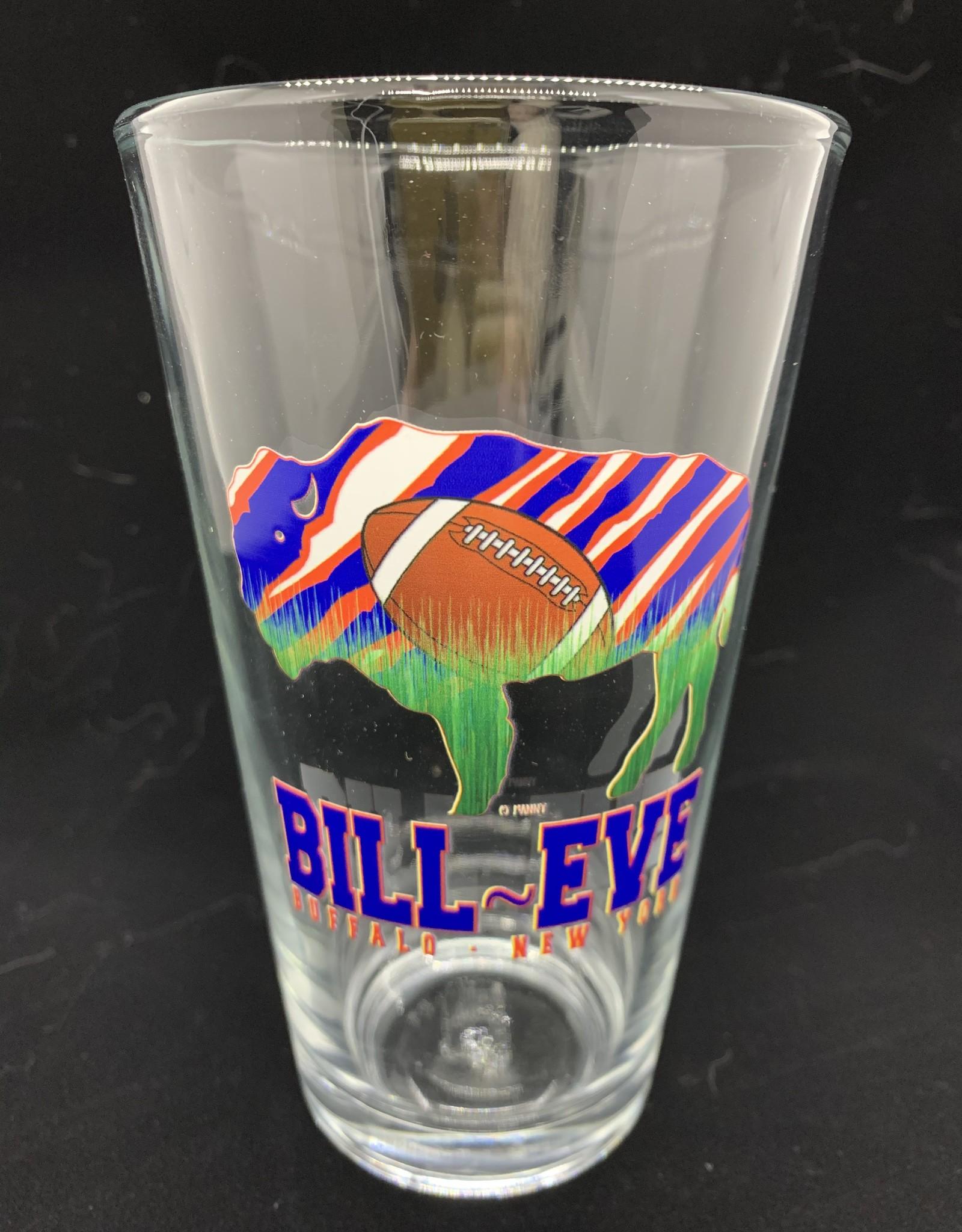 FEEL GOOD GREETINGS INK BUFFAL BILLS BILL EVE PINT GLASS