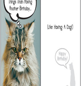 DOG SPEAK Angry Cat Quote Birthday Card