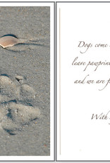 DOG SPEAK Pawprint in Sand Dog Sympathy Card