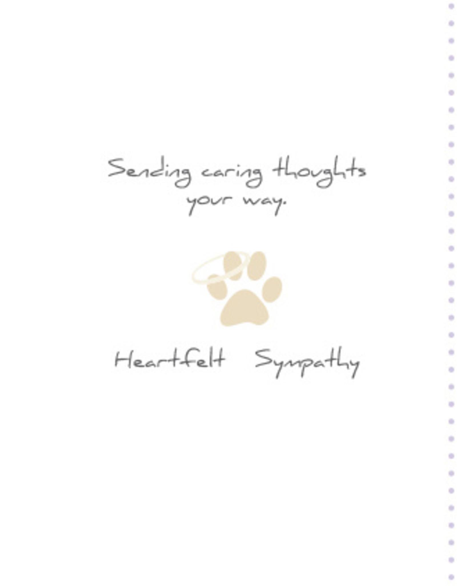 DOG SPEAK Purple Pawprint Dog Sympathy Greeting Card