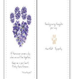 DOG SPEAK Purple Pawprint Dog Sympathy Card