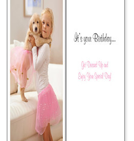 DOG SPEAK Ballerina Golden Retriever Birthday Card