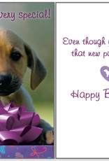 DOG SPEAK Purple Bow with Dog Birthday Card