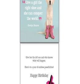 DOG SPEAK Pink Boots on Dog Birthday Card