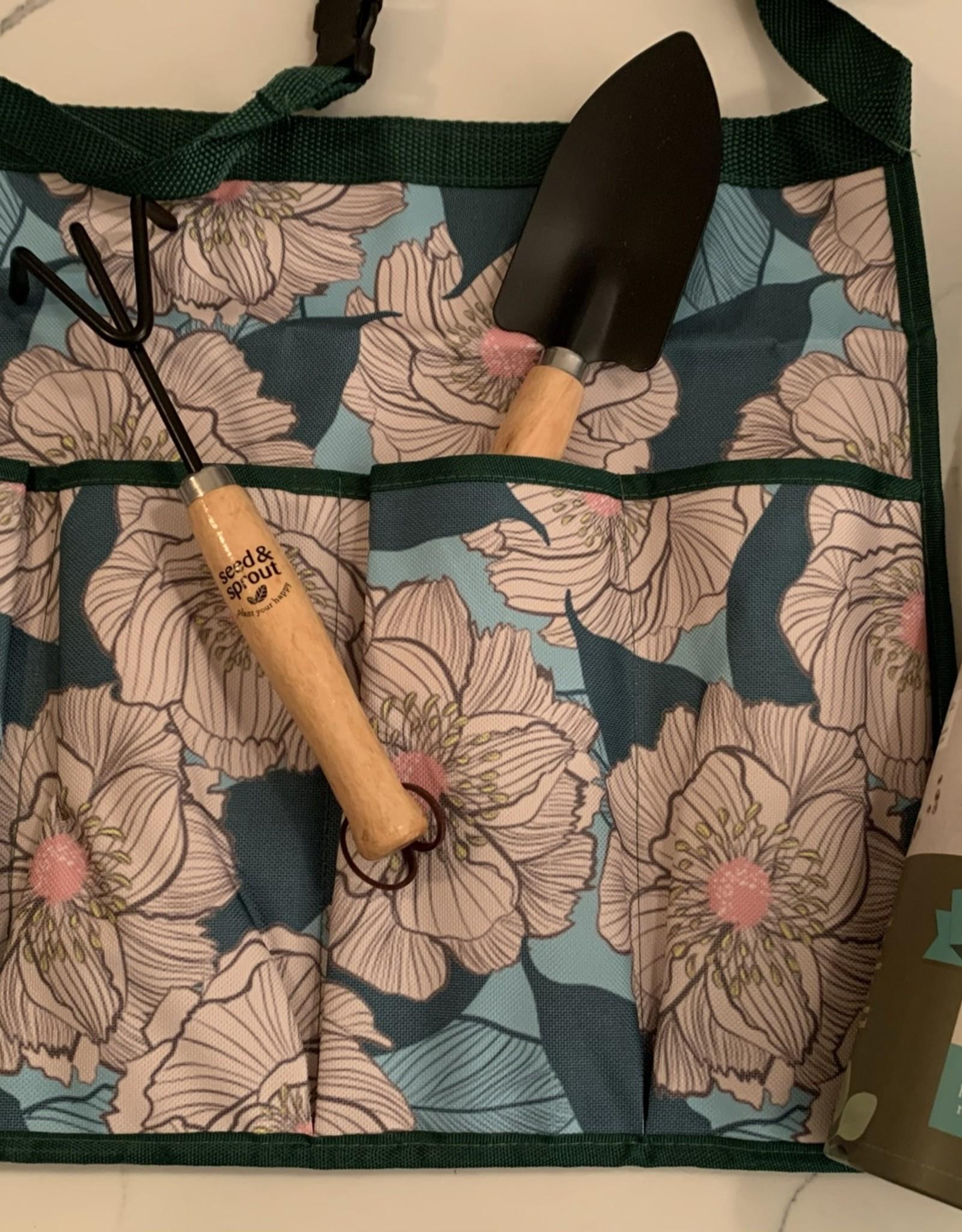 D.M. MERCHANDISING INC. Gardening Set-Botanical Blooms-Apron/Rake/Shovel