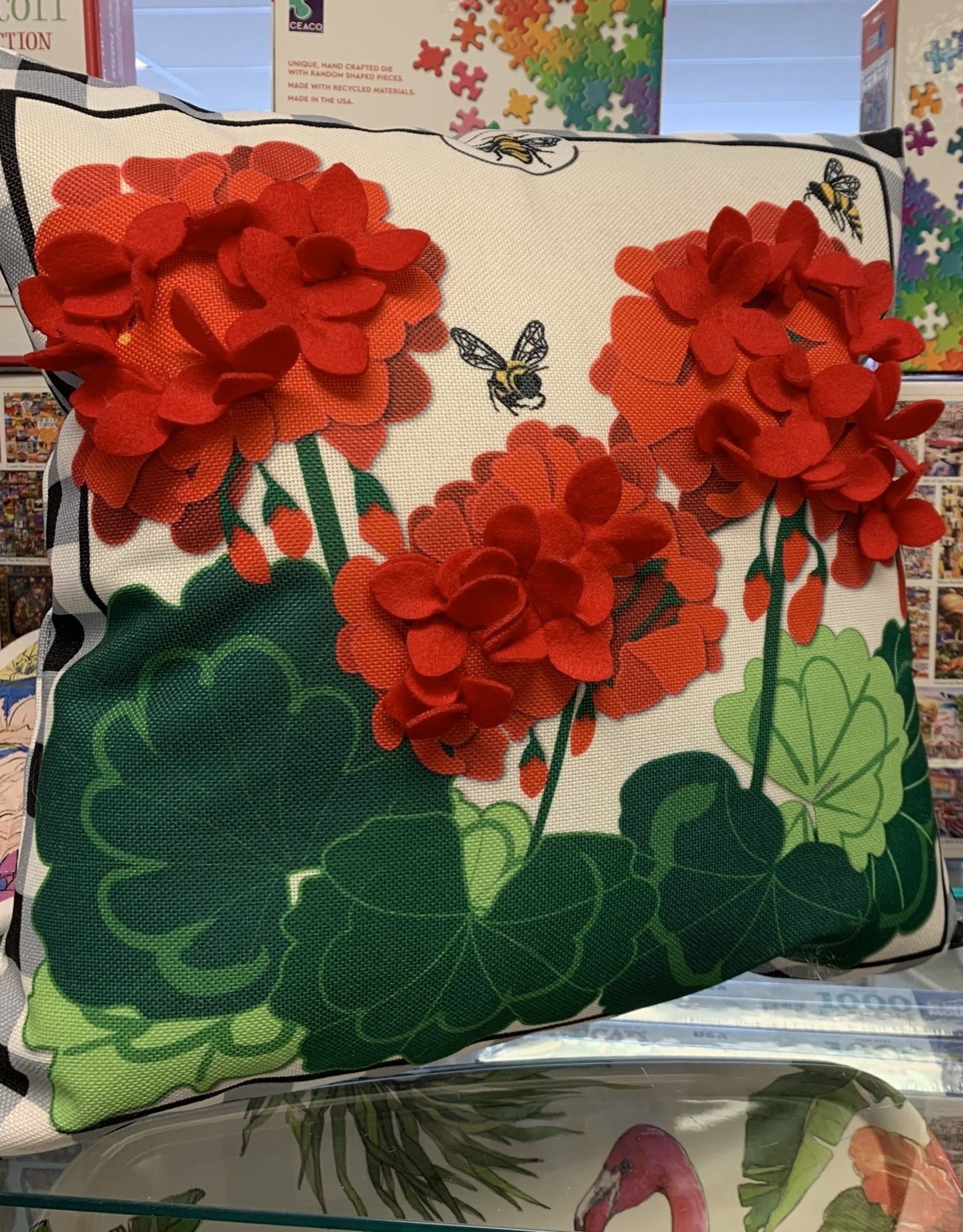EVERGREEN ENTERPRISES, INC. Pillow with Interchangeable Cover-Geraniums
