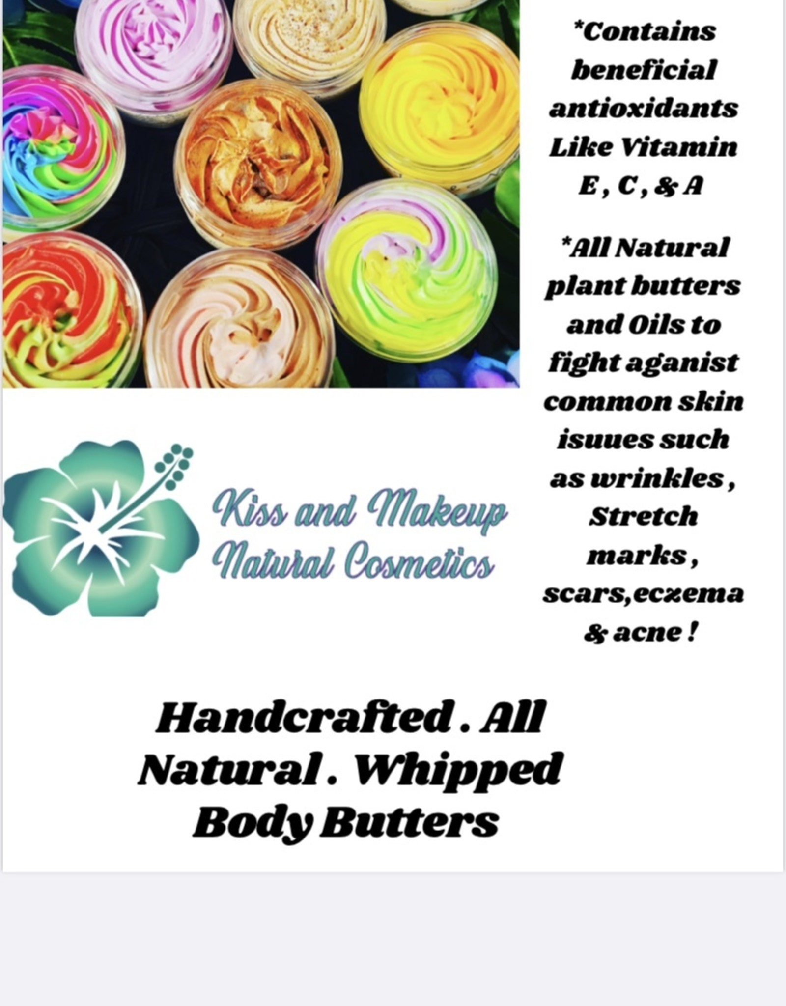 KISS AND MAKEUP NATURAL COSMETICS Whipped  Body Butter-4oz Wild Berry Mimosa