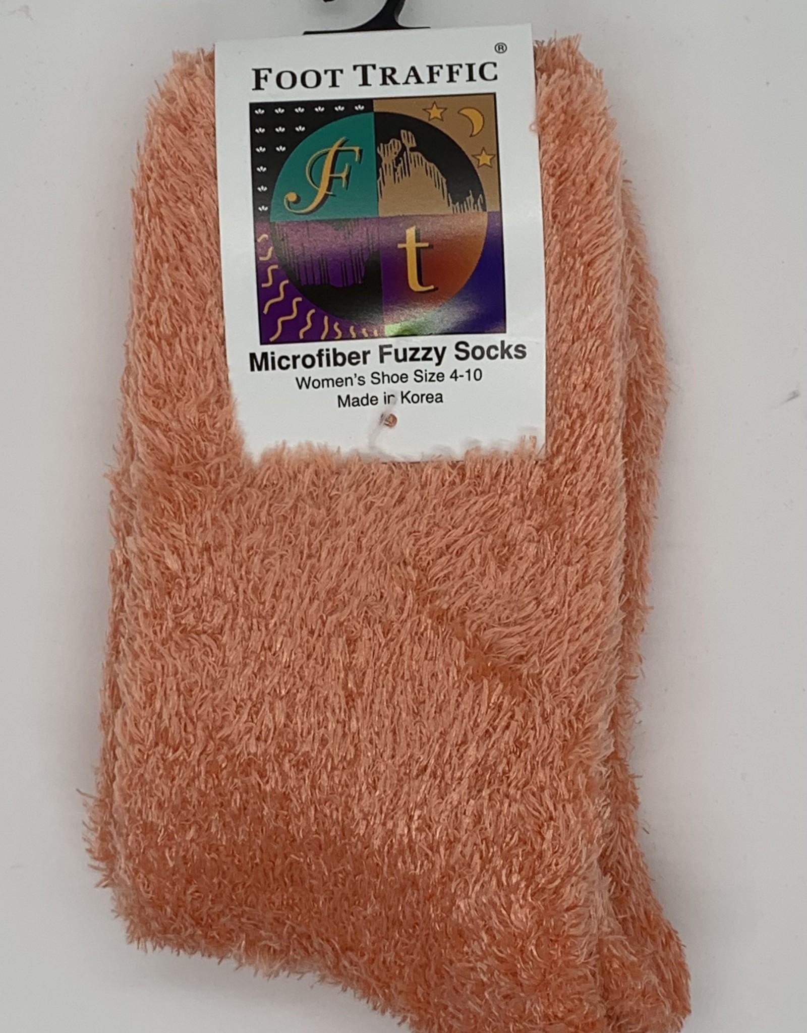 FOOT TRAFFIC Microfiber Fuzzy Socks-Coral