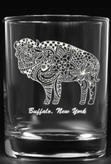 FLOWERED BUFFALO ROCK GLASS