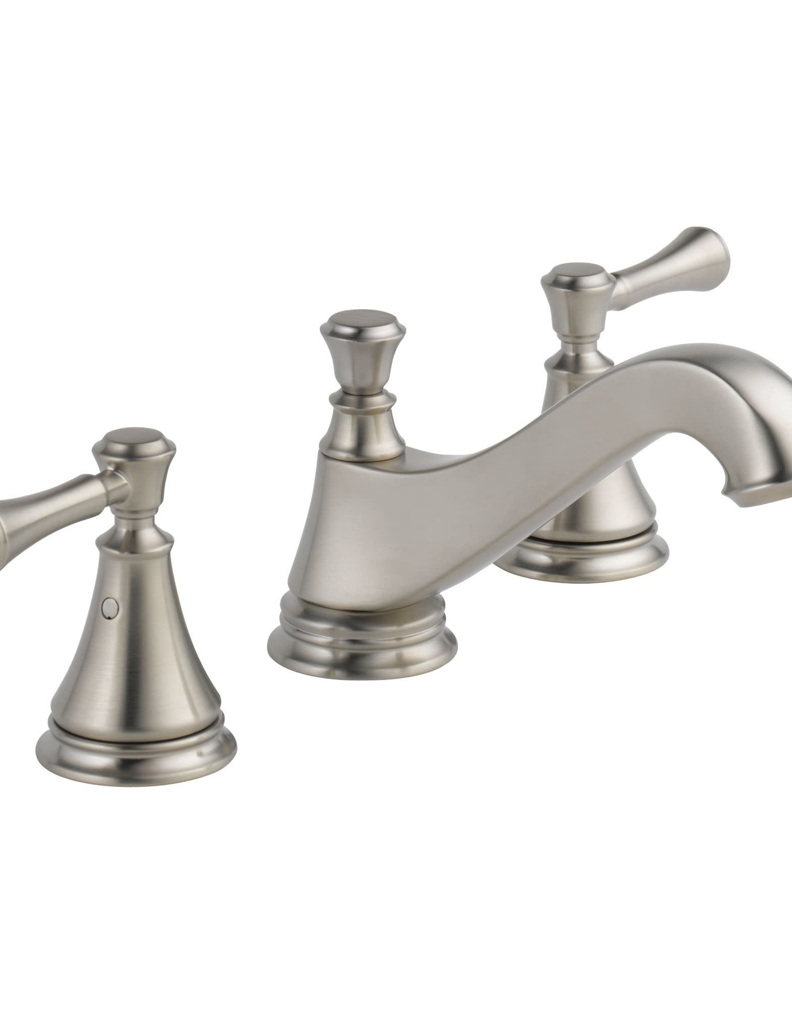 Delta DELTA CASSIDY - BRILLIANCE STAINLESS TWO HANDLE WIDESPREAD LAVATORY - LOW ARC SPOUT LESS HANDLES