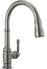 Delta Broderick Single Handle Pull-Down Kitchen Faucet- Black Stainless