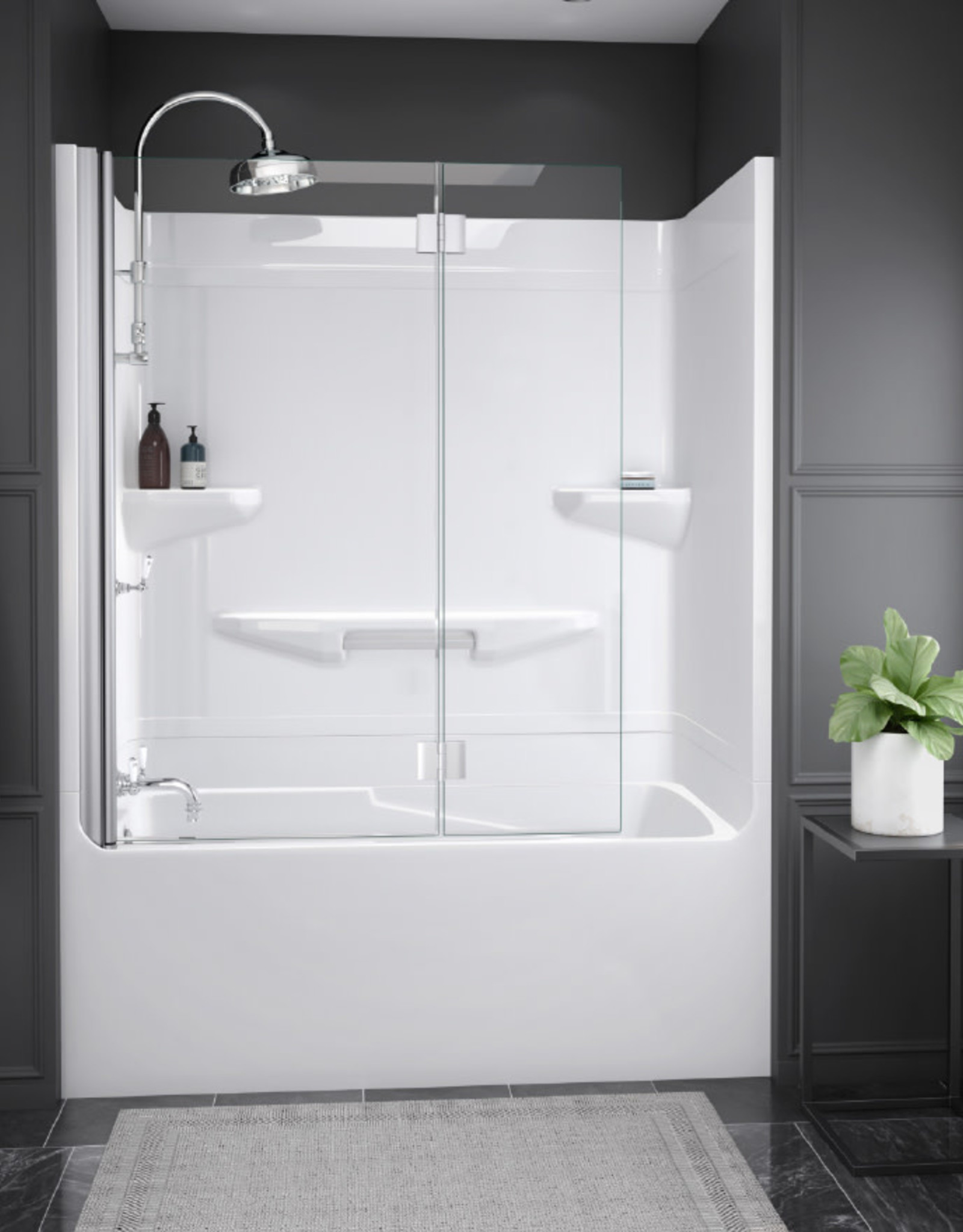 "Longevity Horizon I 1560 60"" 1pc Tub/Shower- Left Drain White"