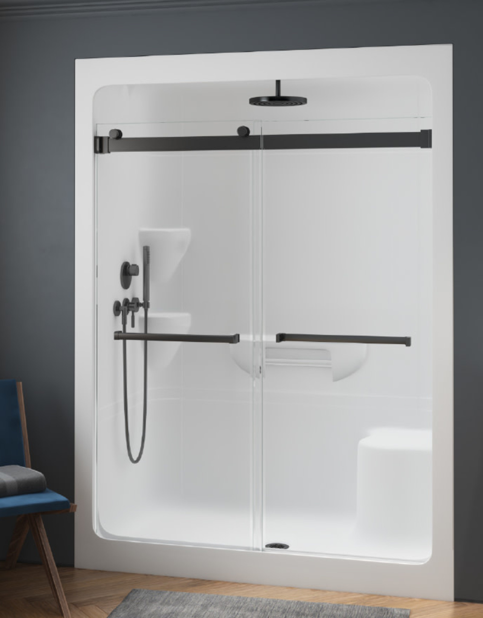 """Longevity Intrigue 9163 60"""" 3pc Shower Right Drain- NO Seat White"""