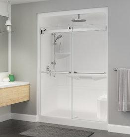 "Longevity Exelsa III-D 1663-D 60"" 3pc Shower Centre Drain- Left Seat White"