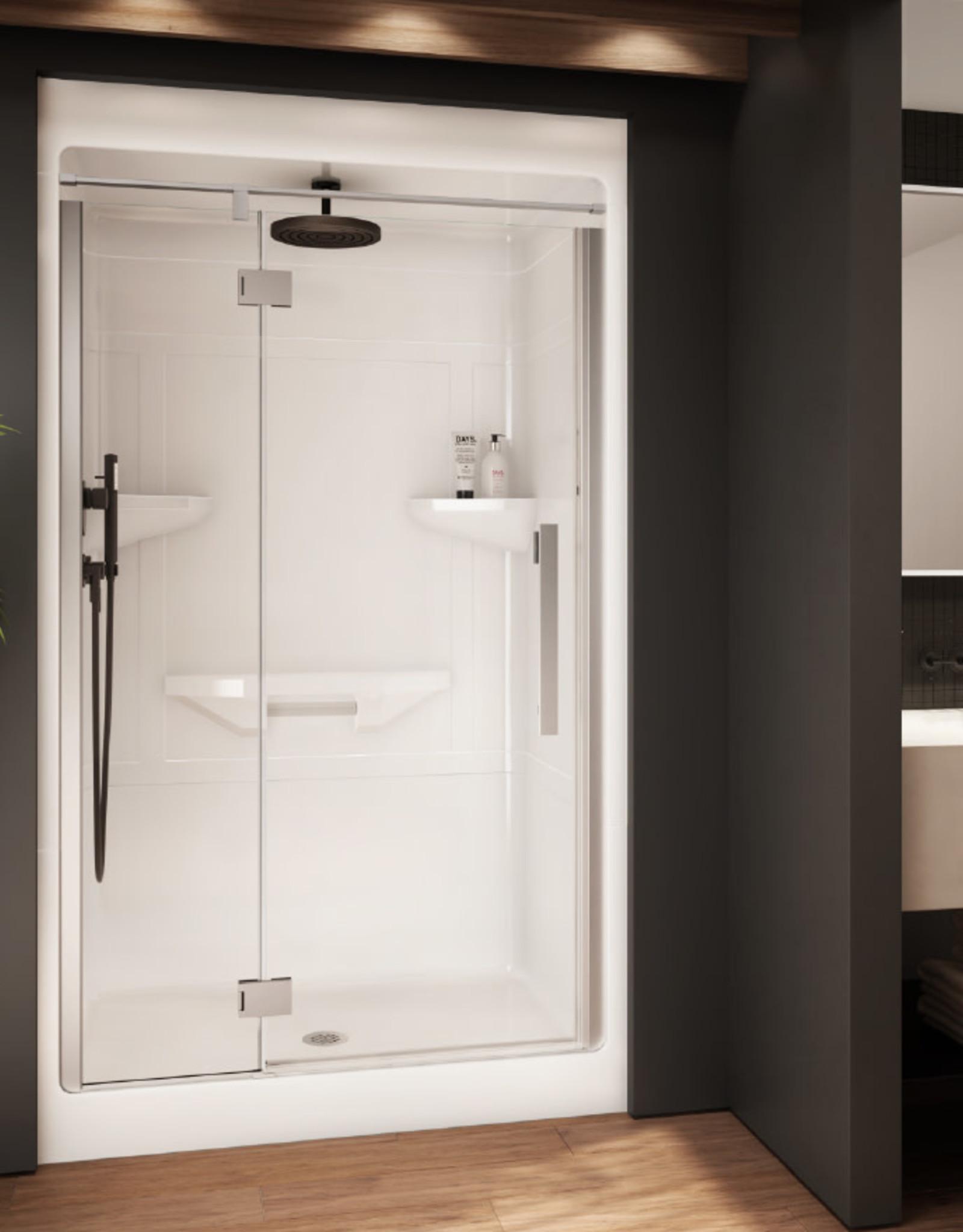 """Longevity Rideau III-D 1643-D 48"""" 3pc Shower Centre Drain- Left Seat White"""