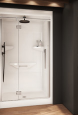 """Longevity Rideau III-D 1643-D 48"""" 3pc Shower Centre Drain- NO Seat White"""