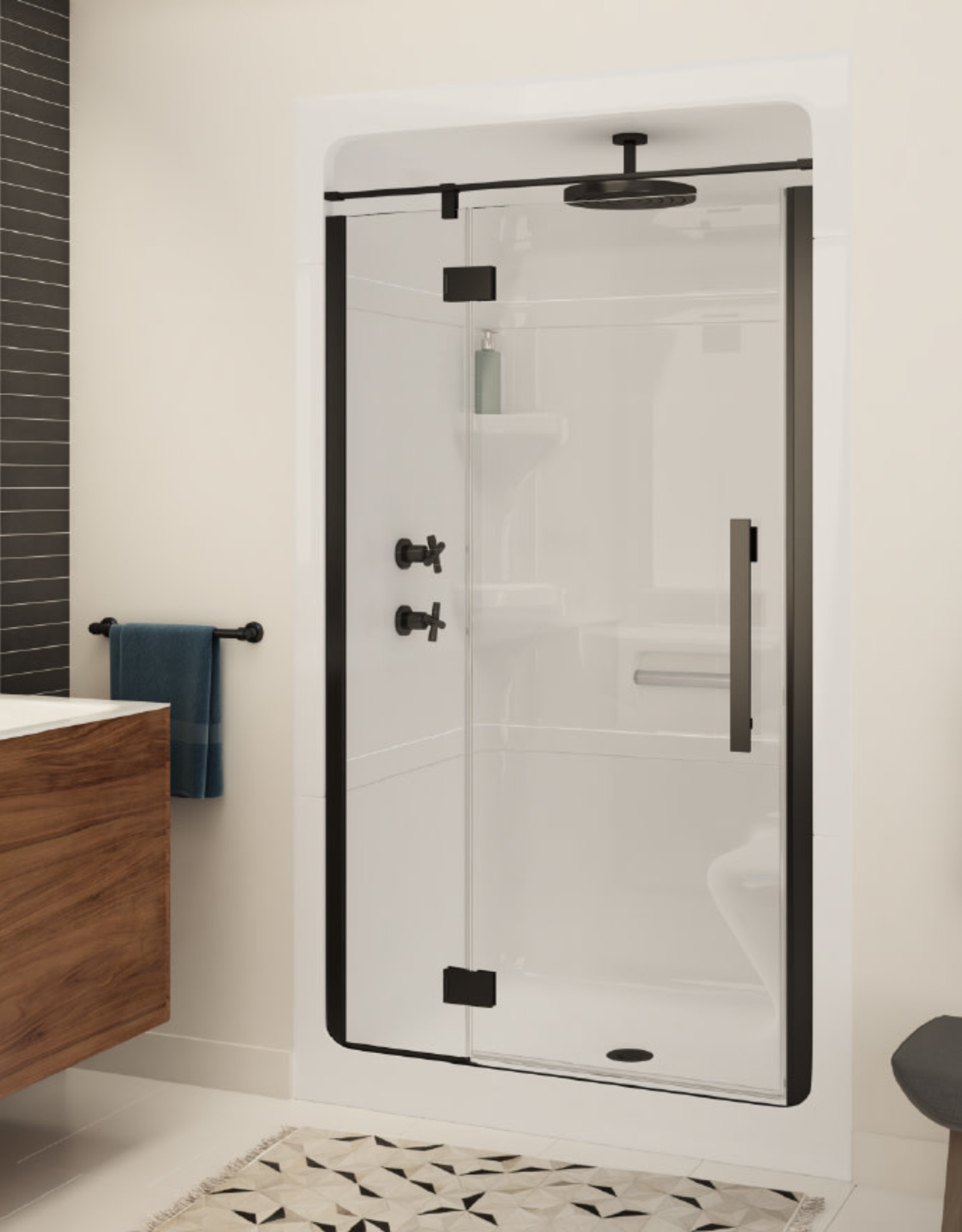 "Longevity Alliance 2248 48"" 1pc Shower Centre Drain- NO Seat White"