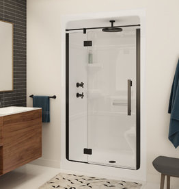 """Longevity Landmark 2243 48"""" 3pc Shower Centre Drain- Left Seat White"""