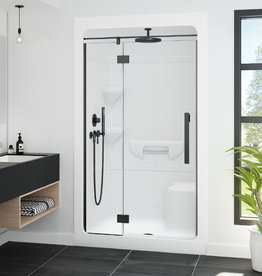 """Longevity Waterford 2048 48"""" 1pc Shower Centre Drain- Right Seat White"""