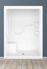 "Longevity AL9161-3 60"" 3pc Shower w/ Grab Rails Centre Drain- NO Seat White"