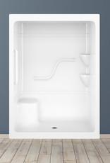 "Longevity AL9161-3 60"" 3pc Shower w/ Grab Rails Right Drain- NO Seat White"