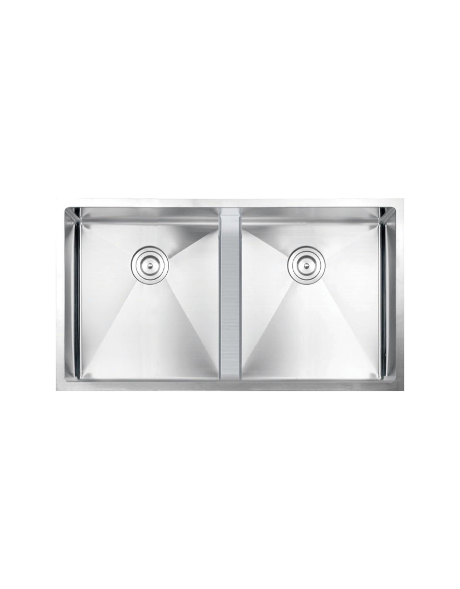 "Vogt Lavanttal 16R Undermount Kitchen Sink Double Bowl (50/50) 34"" x 18"" x 10"" With Bottom Grids"