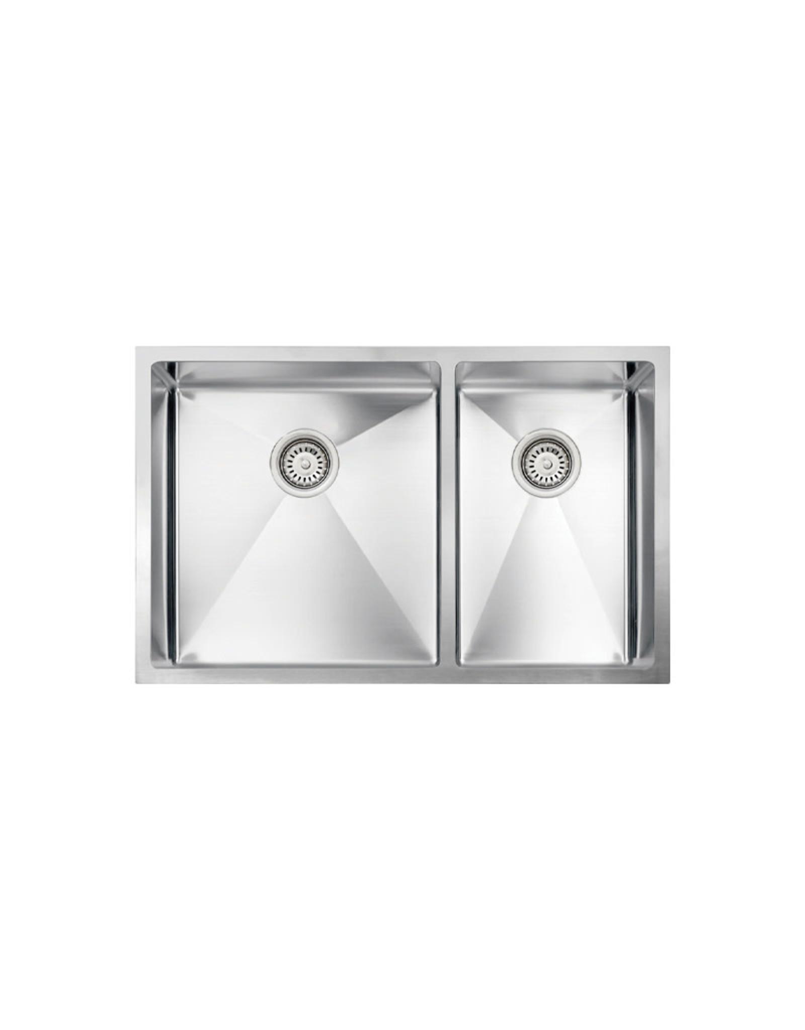 "Vogt Ternitz 18R Undermount Kitchen Sink Double Bowl (60/40) 30"" x 18"" x 10"" With Bottom Grids"