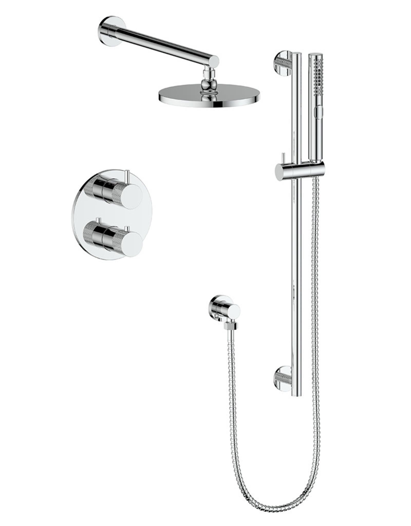 Vogt Drava 2-Way Thermostatic Shower System- Handheld With Rainhead- Chrome