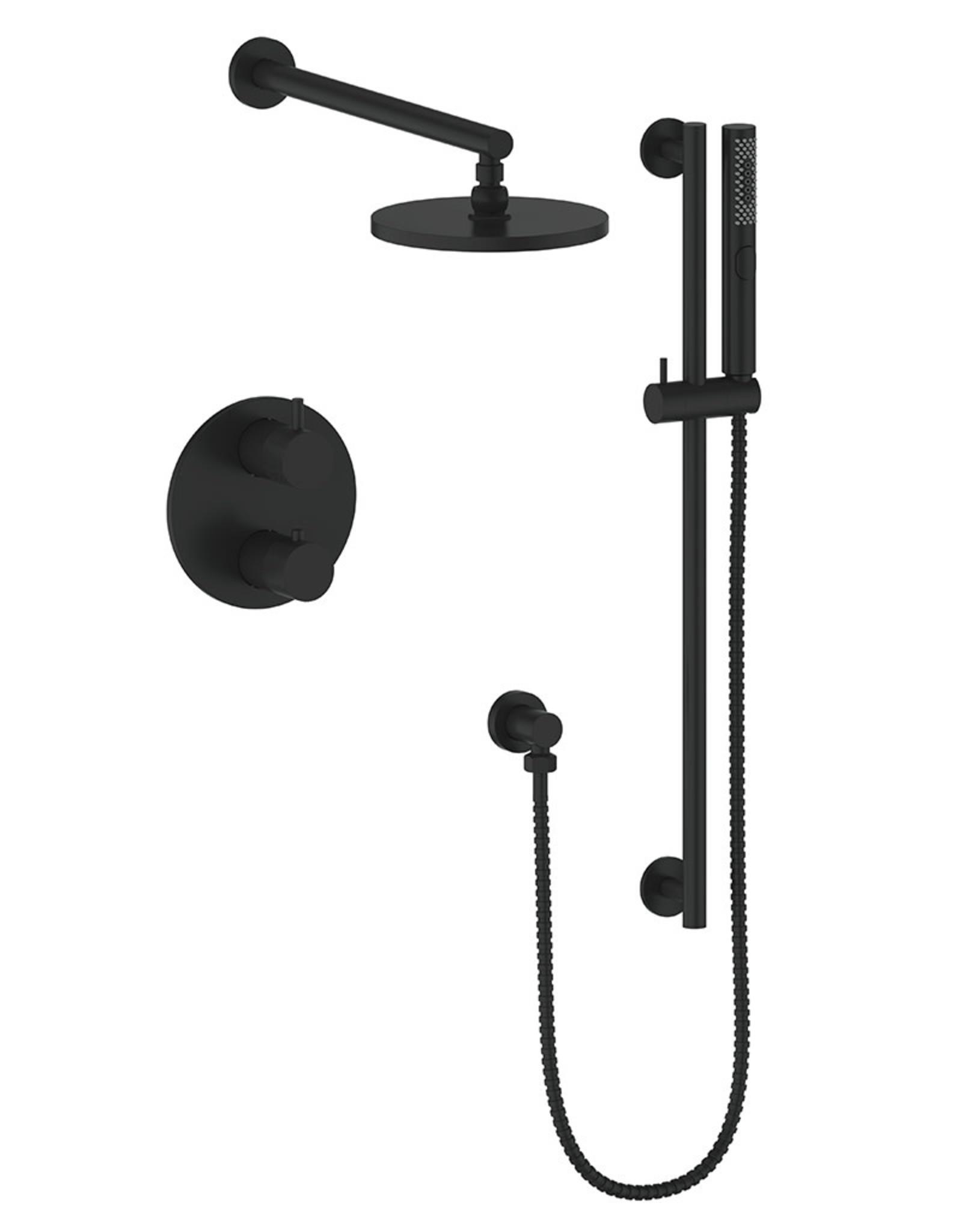 Vogt Drava 2-Way Thermostatic Shower System Handheld with Rainhead- Matte Black