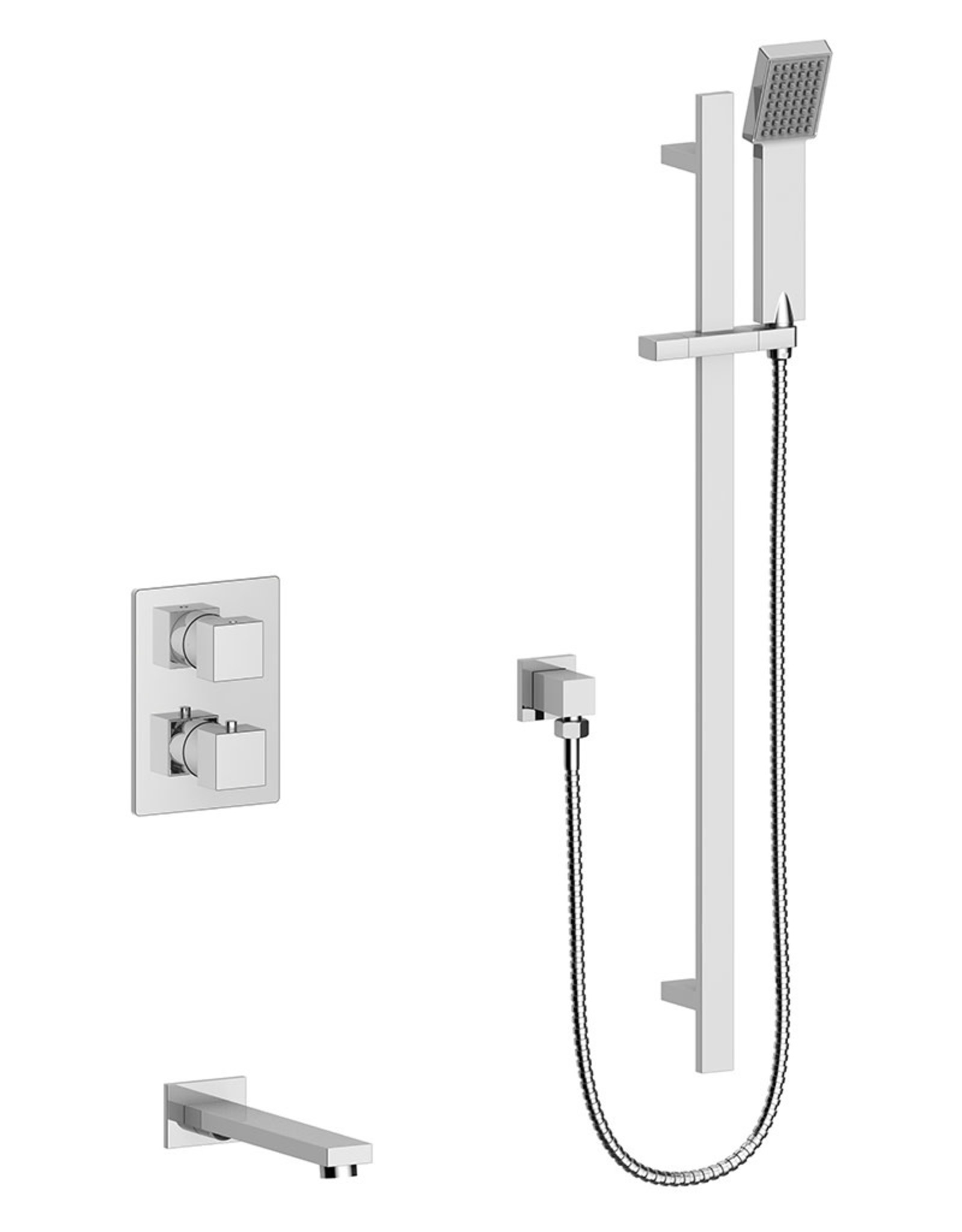 Vogt Kapfenberg- 2-Way Thermostatic Shower Kit- Handheld With Tub Spout- Chrome
