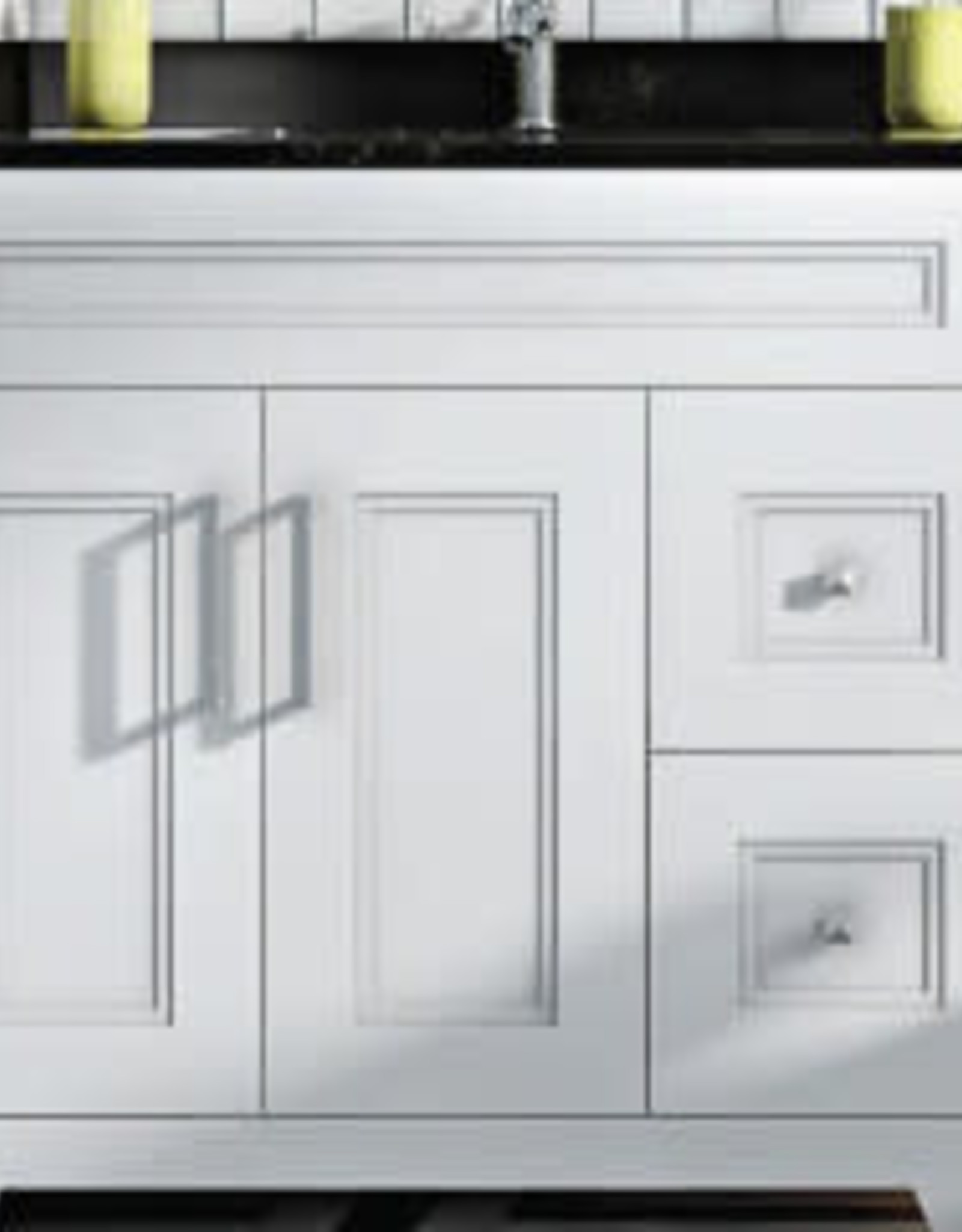 """Classic Brand Cabinetry 36"""" Vanity- Drawers on Left w Quartz Sink and Top"""