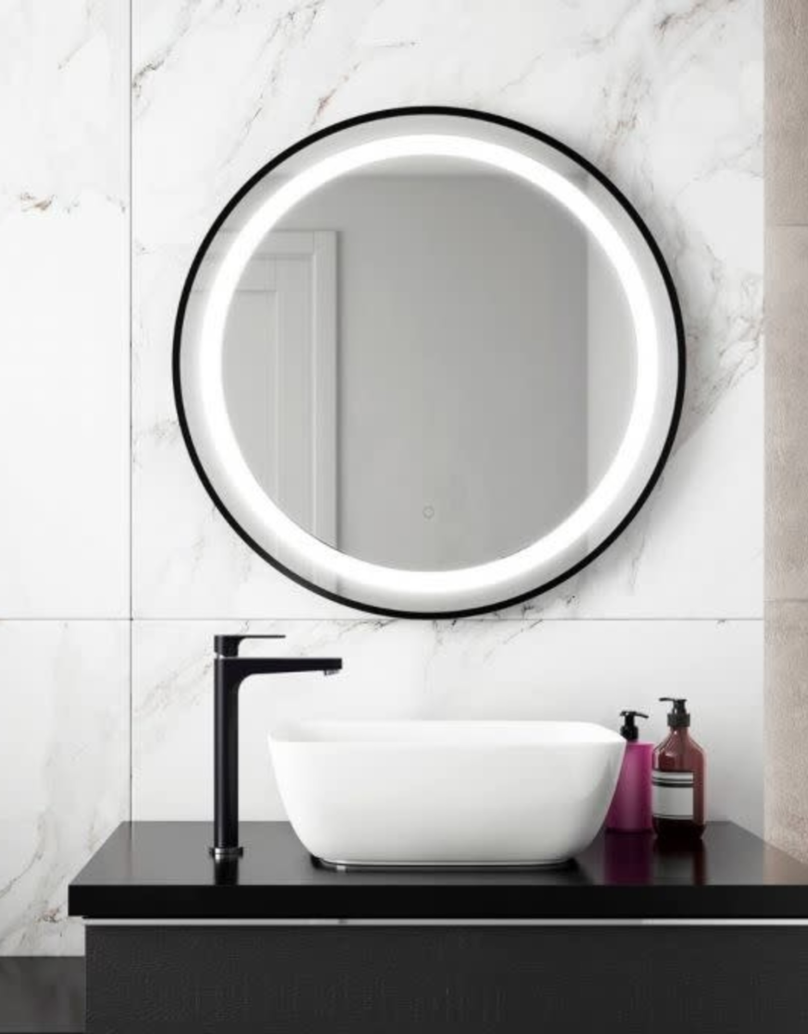 "Kalia Kalia Effect LED Black Round Collection 30"" Mirror"
