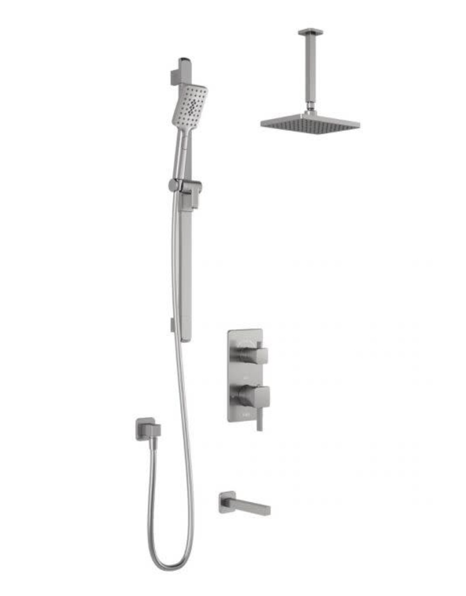 Kalia SqaureOne 3-Way Thermostatic Shower Kit w/ Ceiling Arm- Pure Nickel