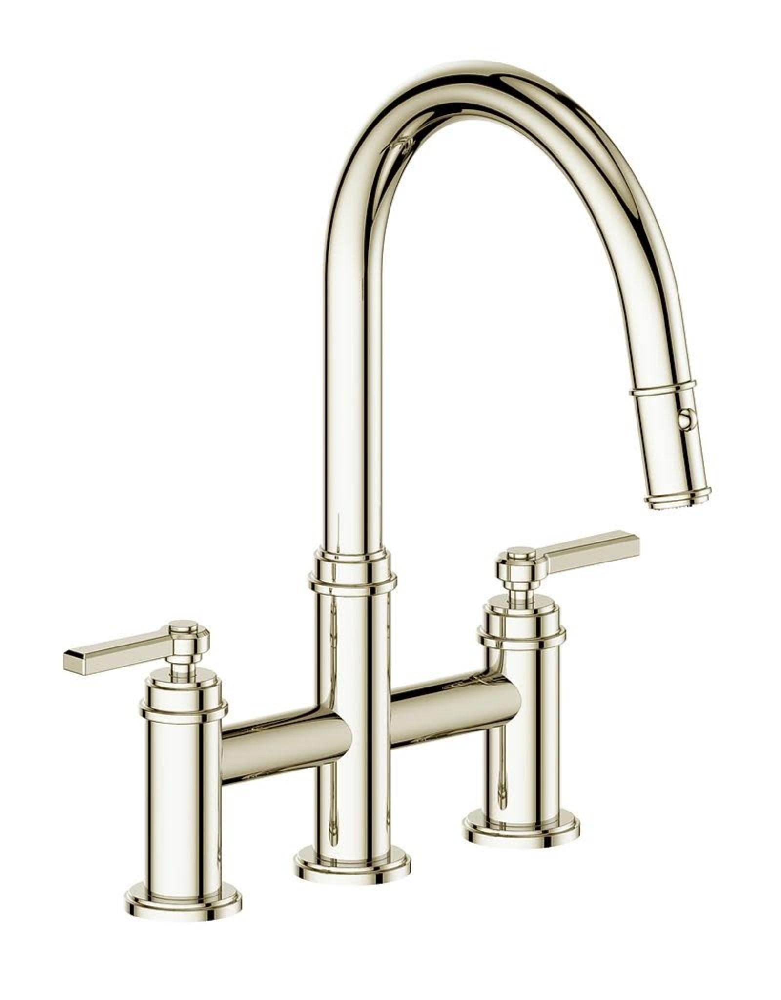 Vogt Zehn Bridge Kitchen Faucet- 1 Spoke Handle- Polished Nickel