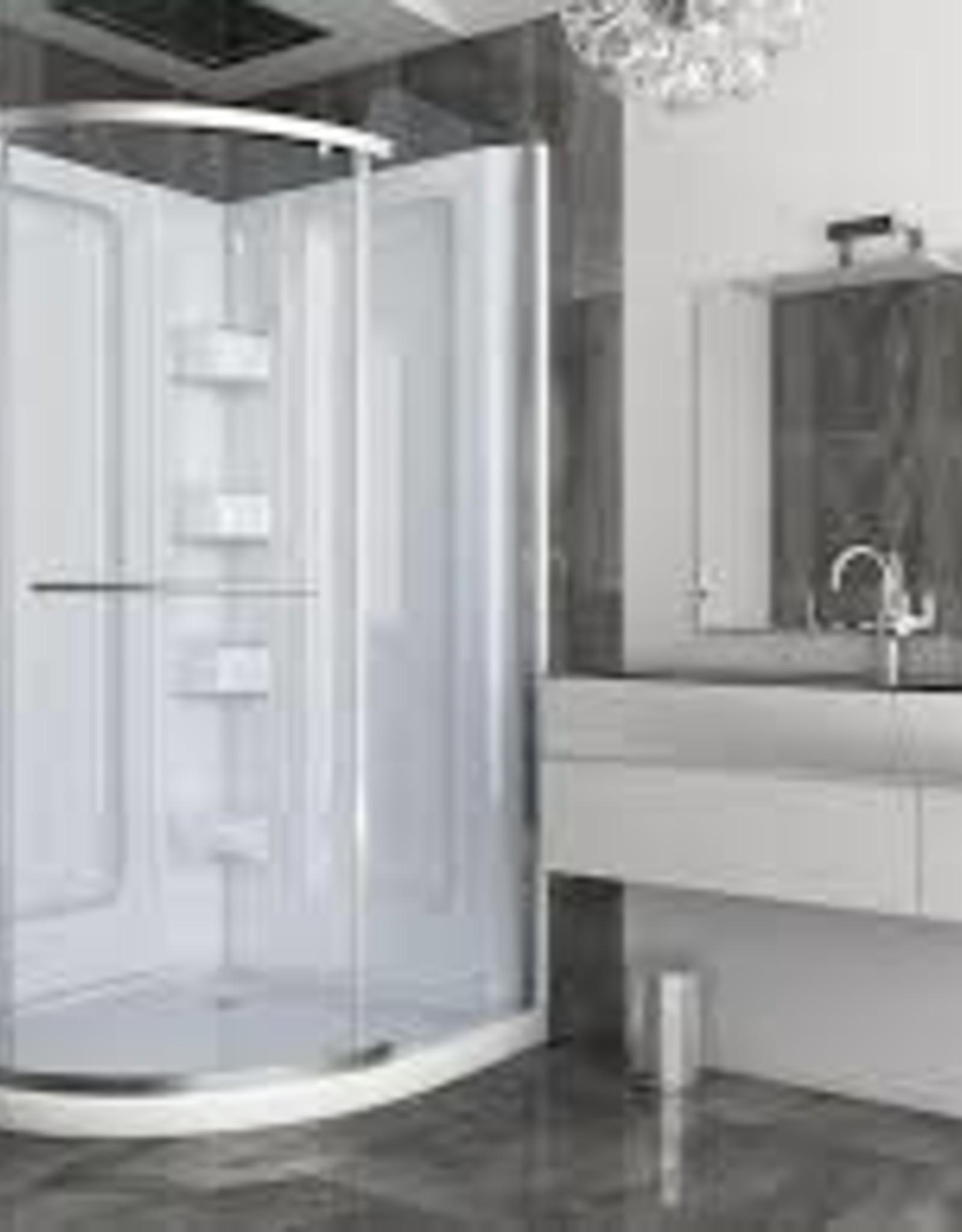 Mirolin Mirolin Sorrento Corner Shower Round White Multi-Piece w Door