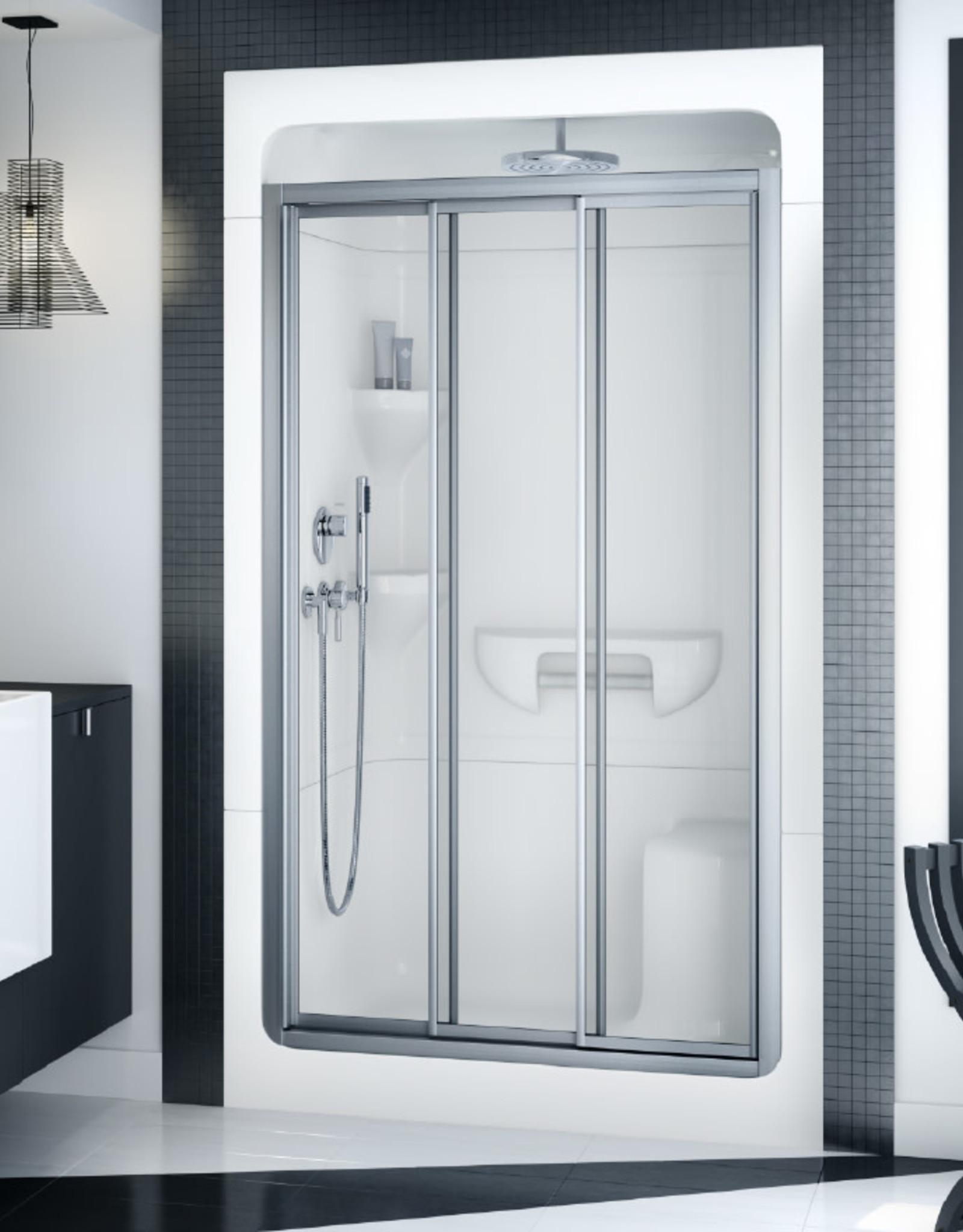 "Longevity Acadia 2043 48"" 3pc Shower Centre Drain- Left Seat White"